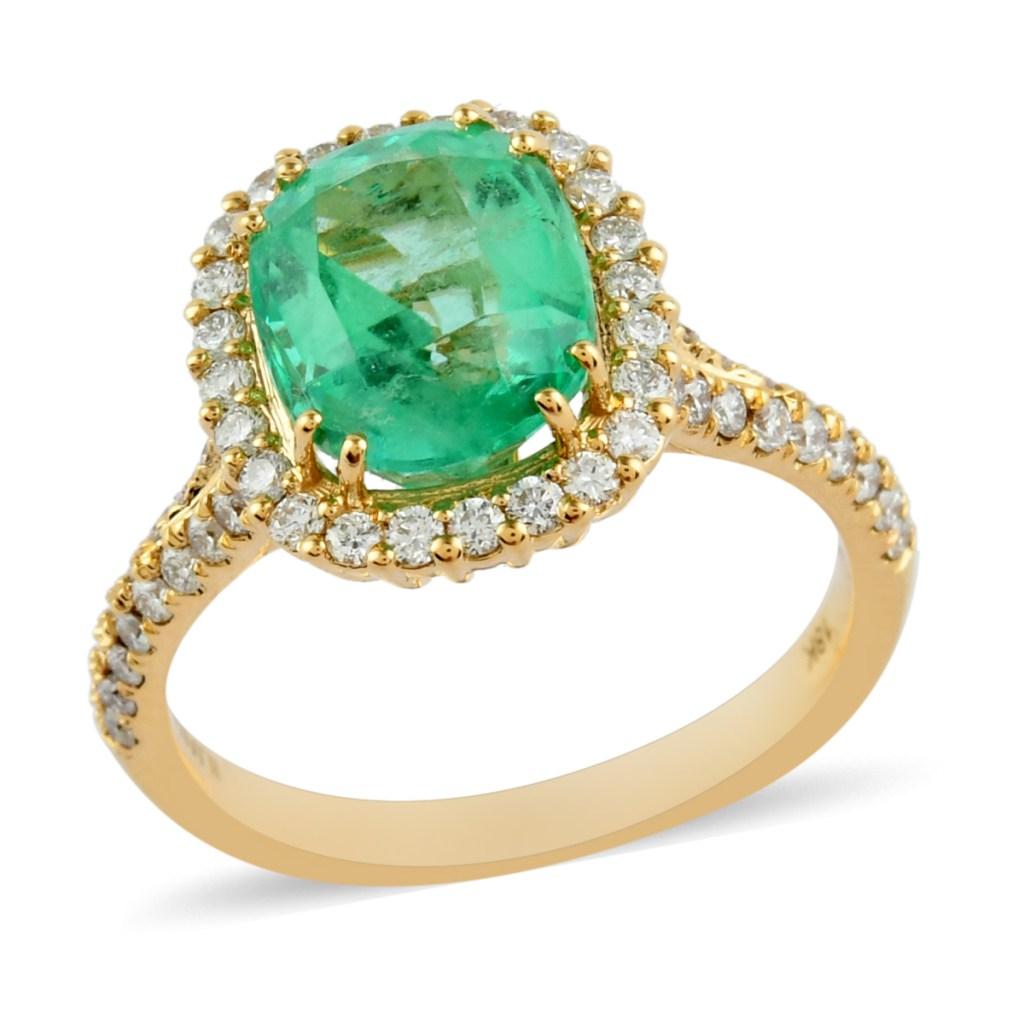 18K yellow gold emerald ring.