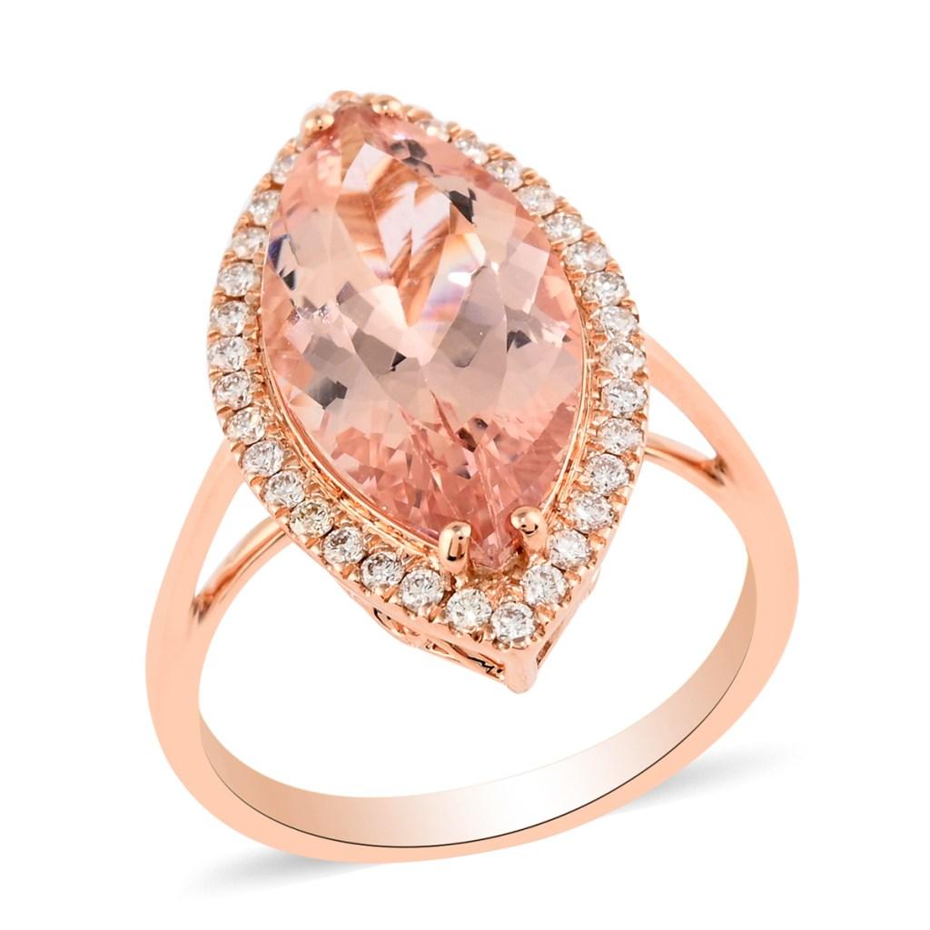 Peach morganite ring in 18K rose gold.