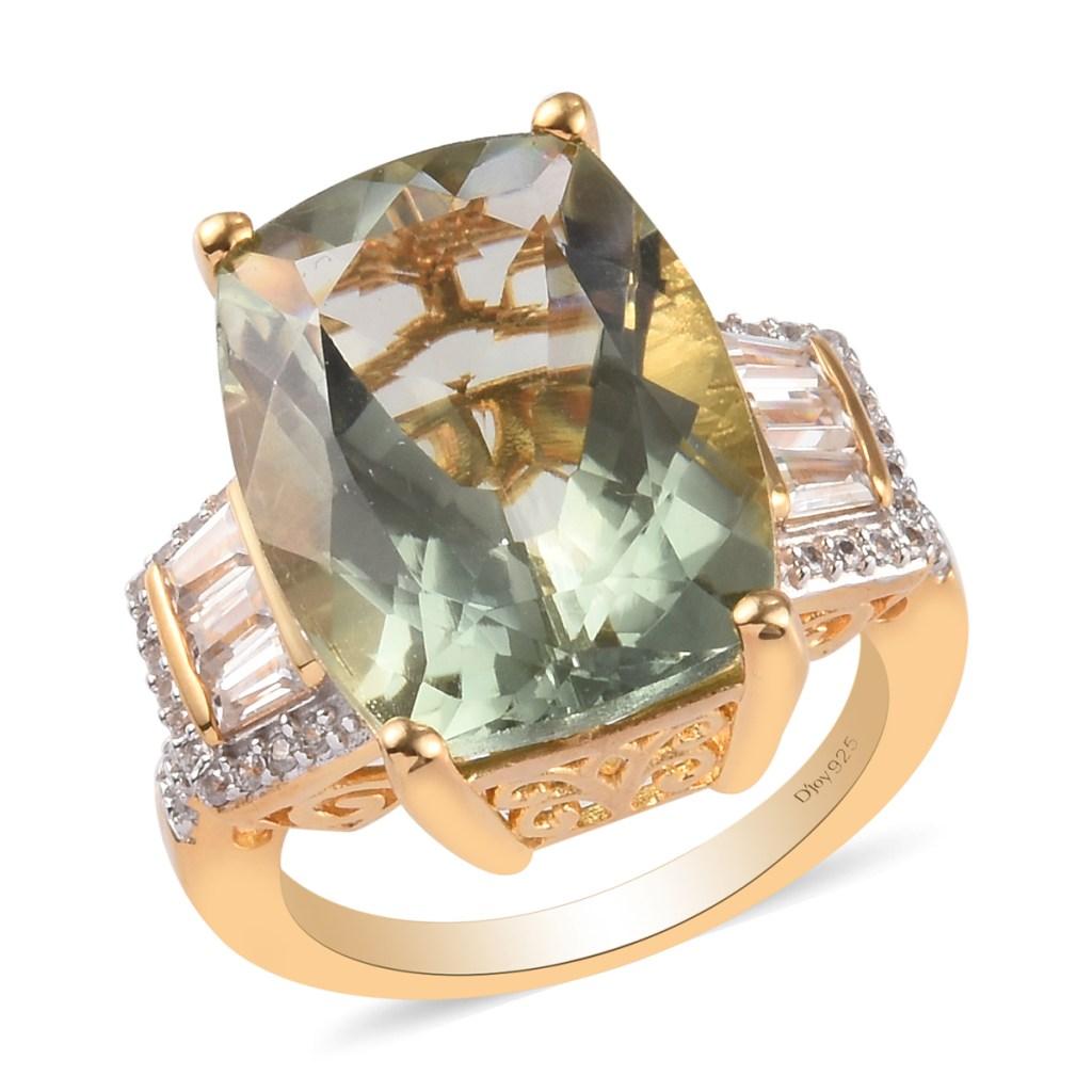Prasiolite ring in gold vermeil.