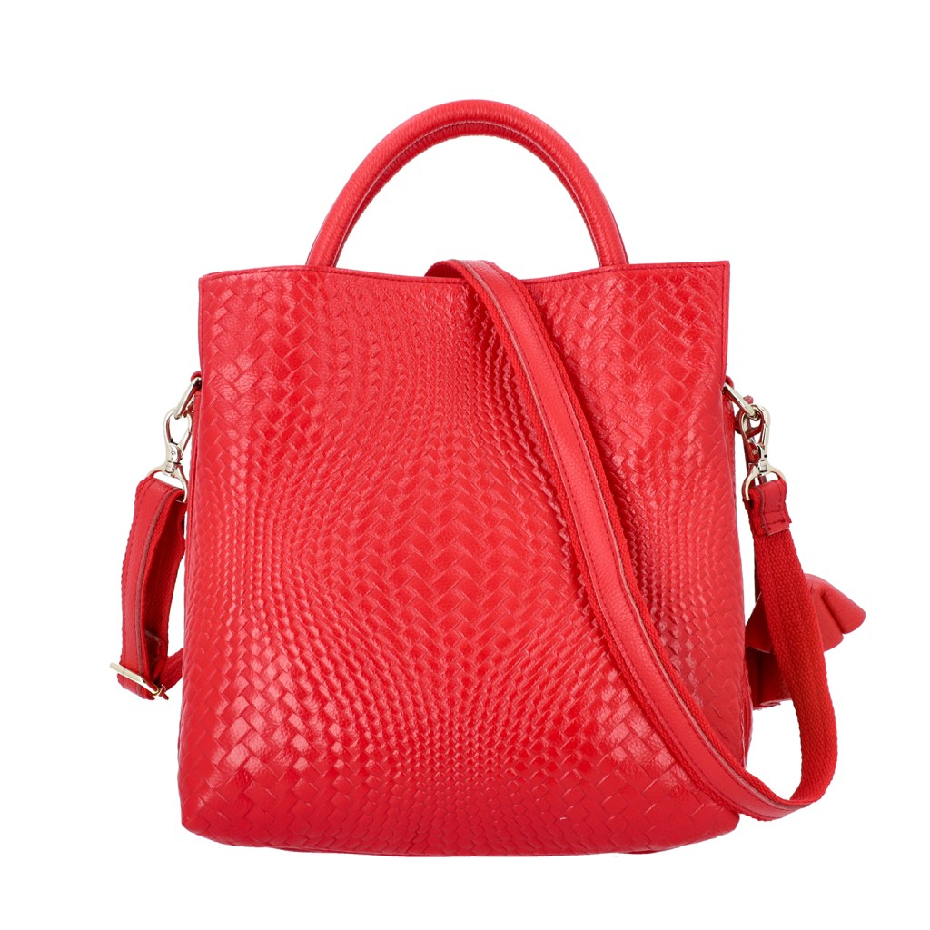 Red leather handbag.