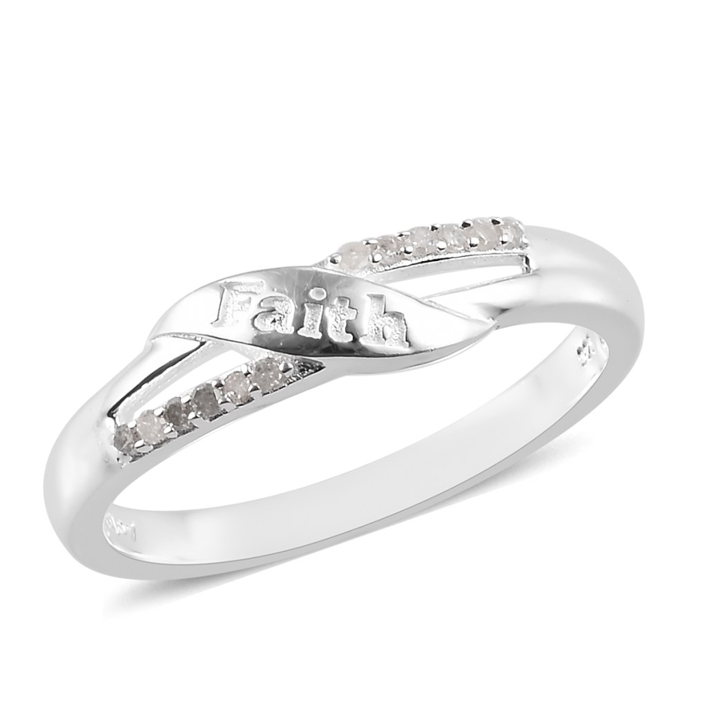 Silver faith ring with diamond accents.