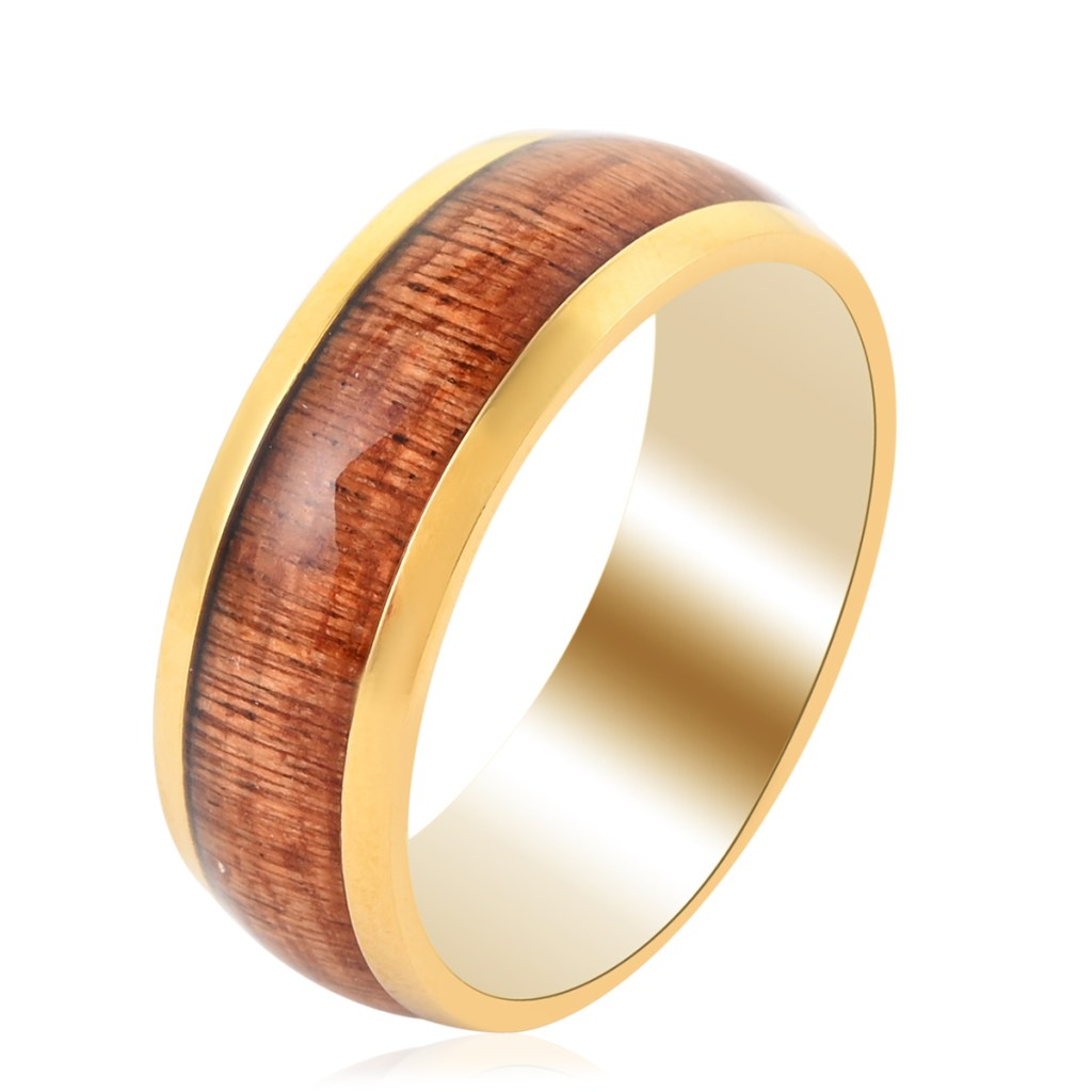 Gold plated men's ring with wood inlay.