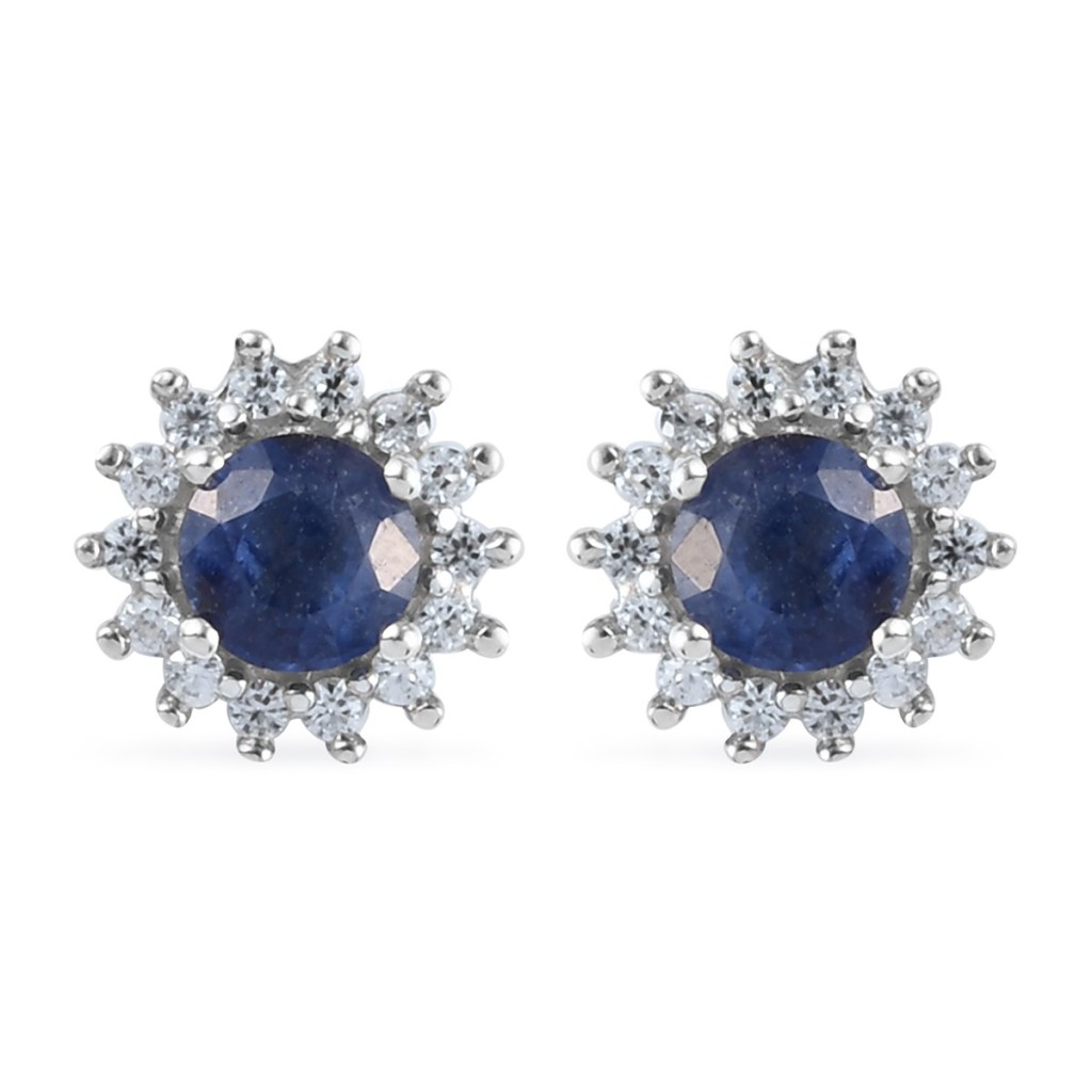 Blue sapphire halo stud earrings in sterling silver.