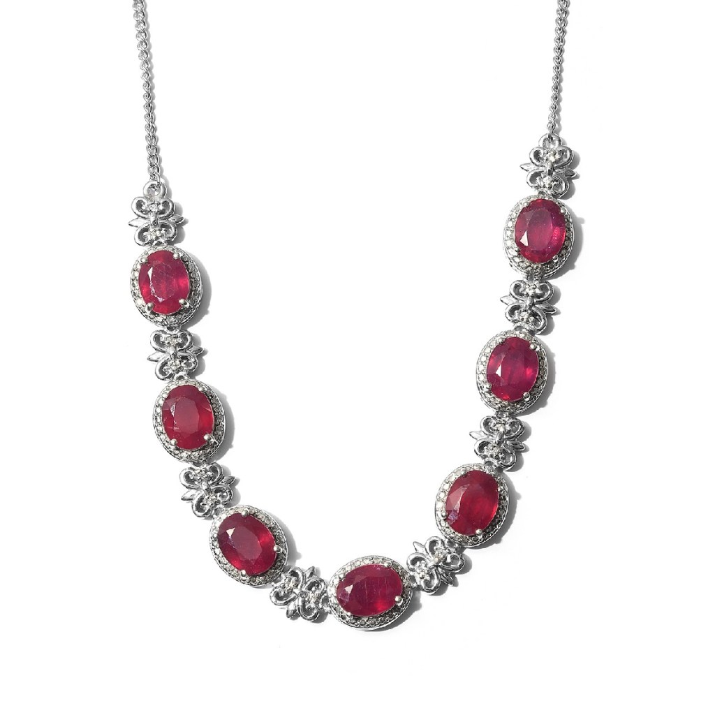Niassa ruby necklace in sterling silver.