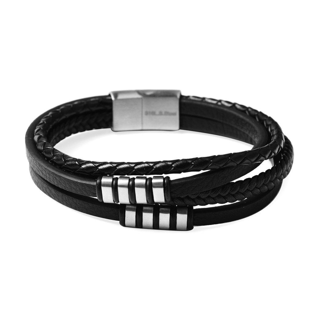 Woven black leather bracelet with steel accents.