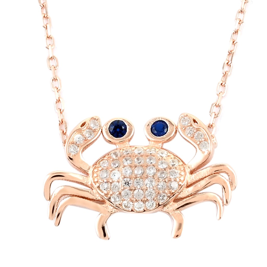 Rose gold crab necklace.