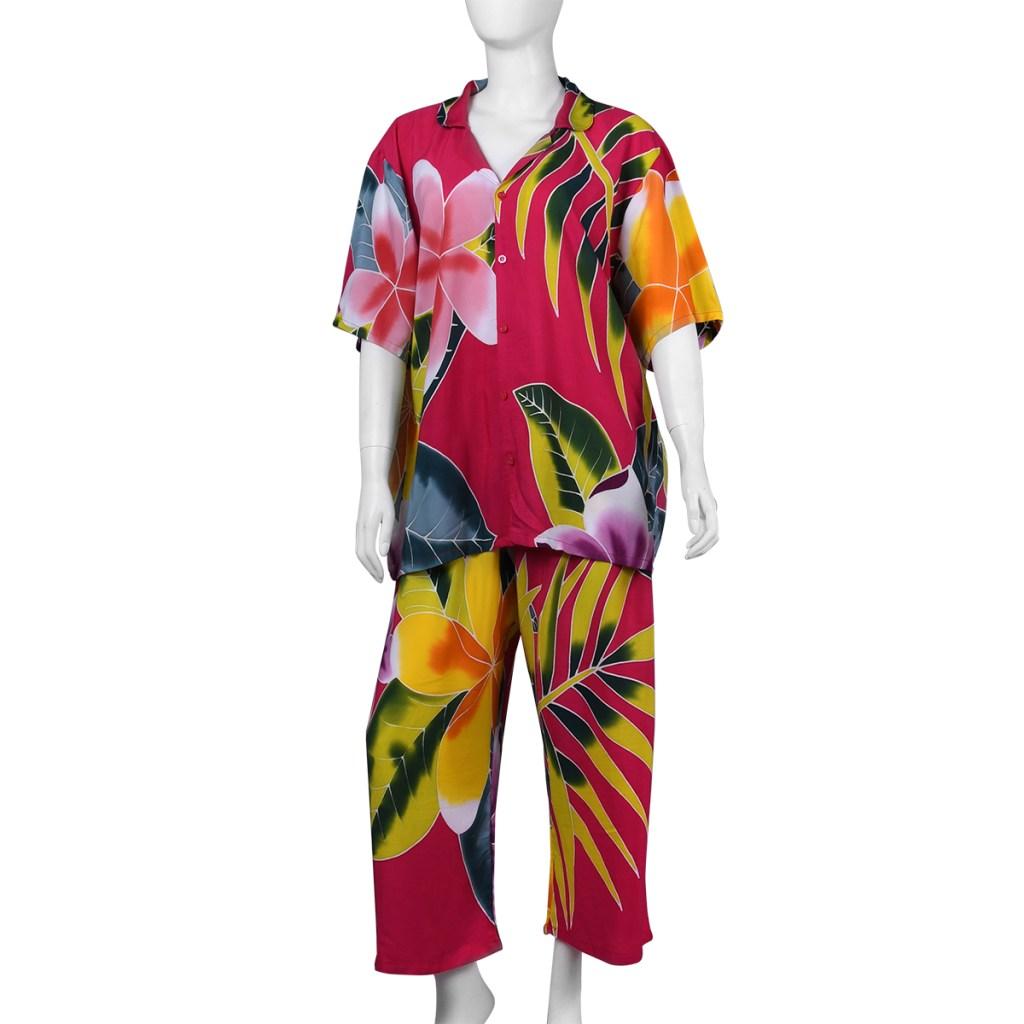 Hawaiian print sleepwear set.