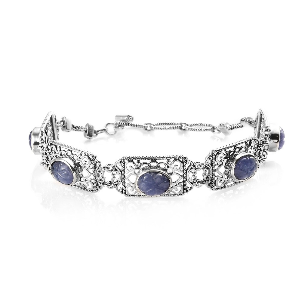 Sterling silver bracelet with carved tanzanite.