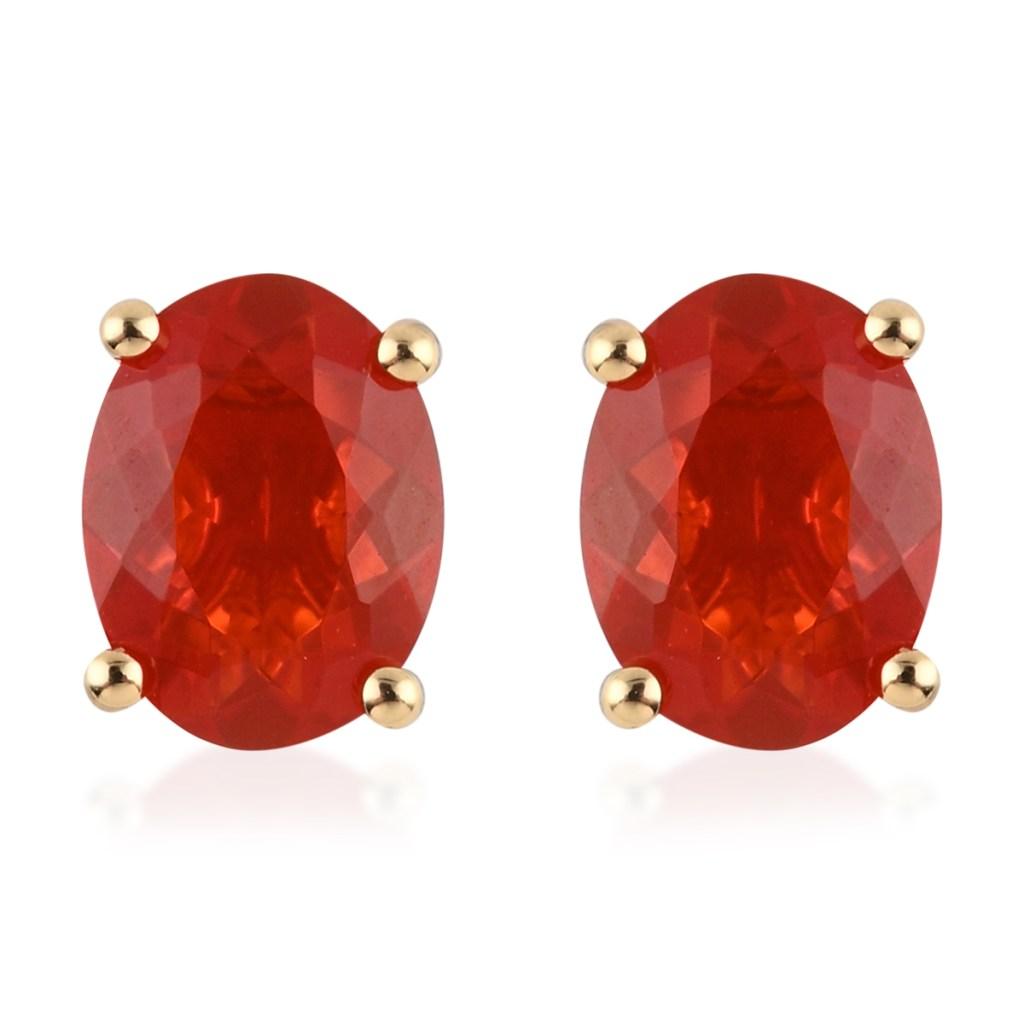 Fire opal stud earrings.