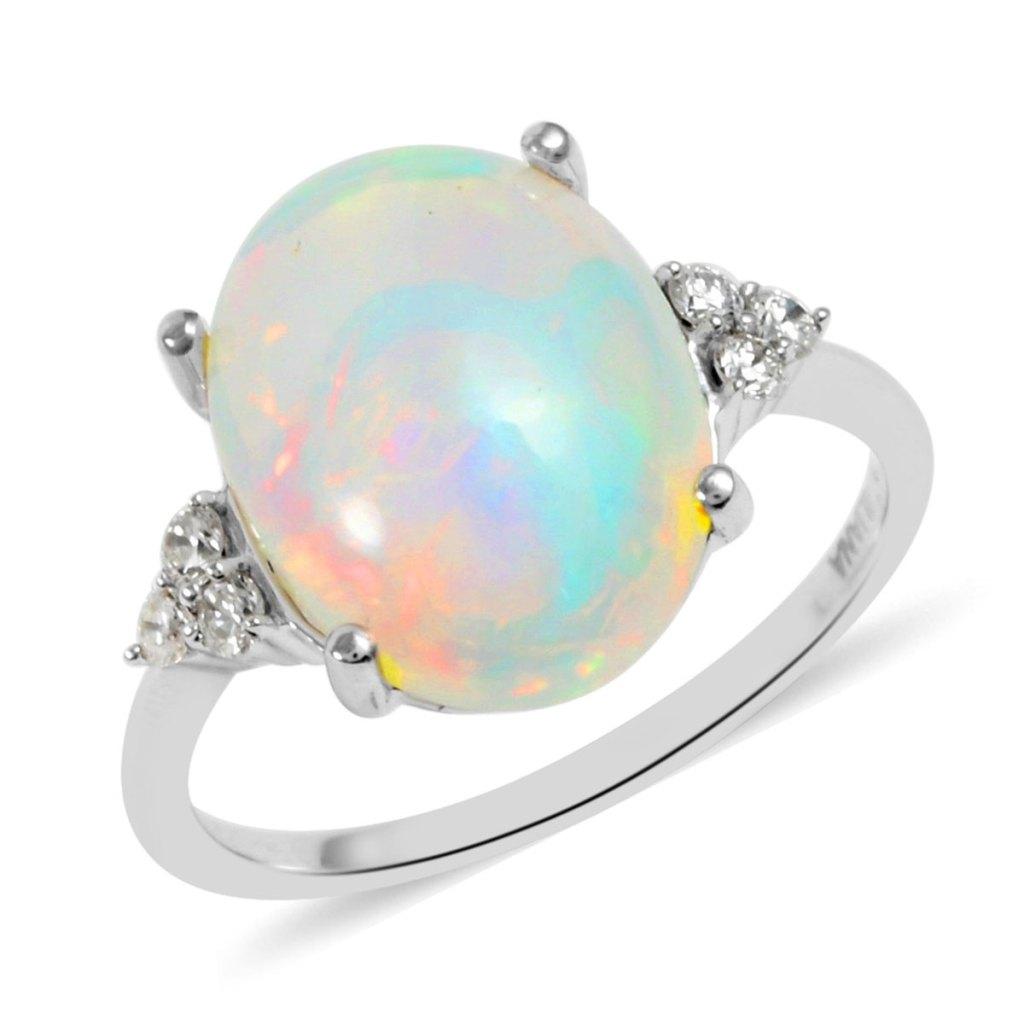 18K white gold opal ring.