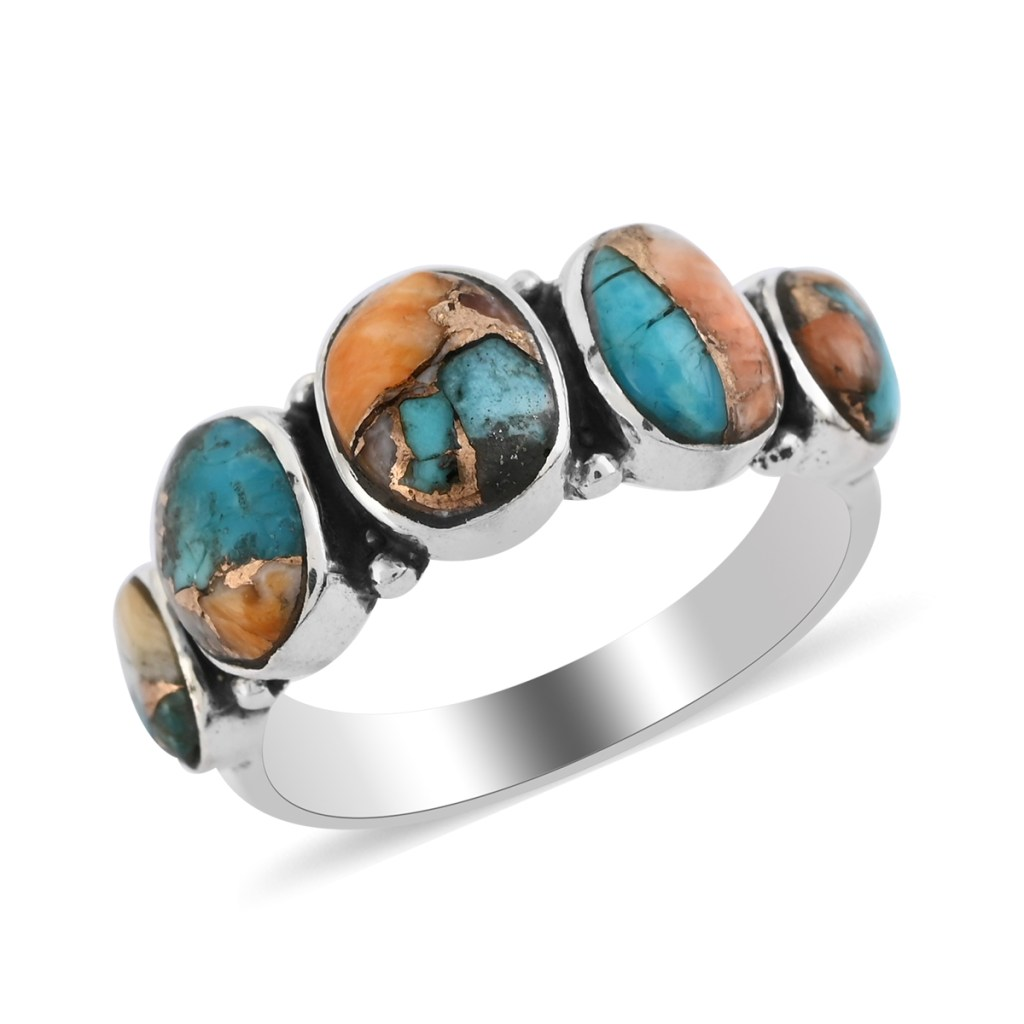 Five stone spiny turquoise ring in sterling silver.