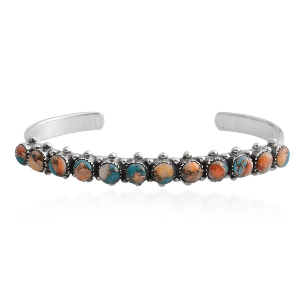 Spiny turquoise bracelet in sterling silver.