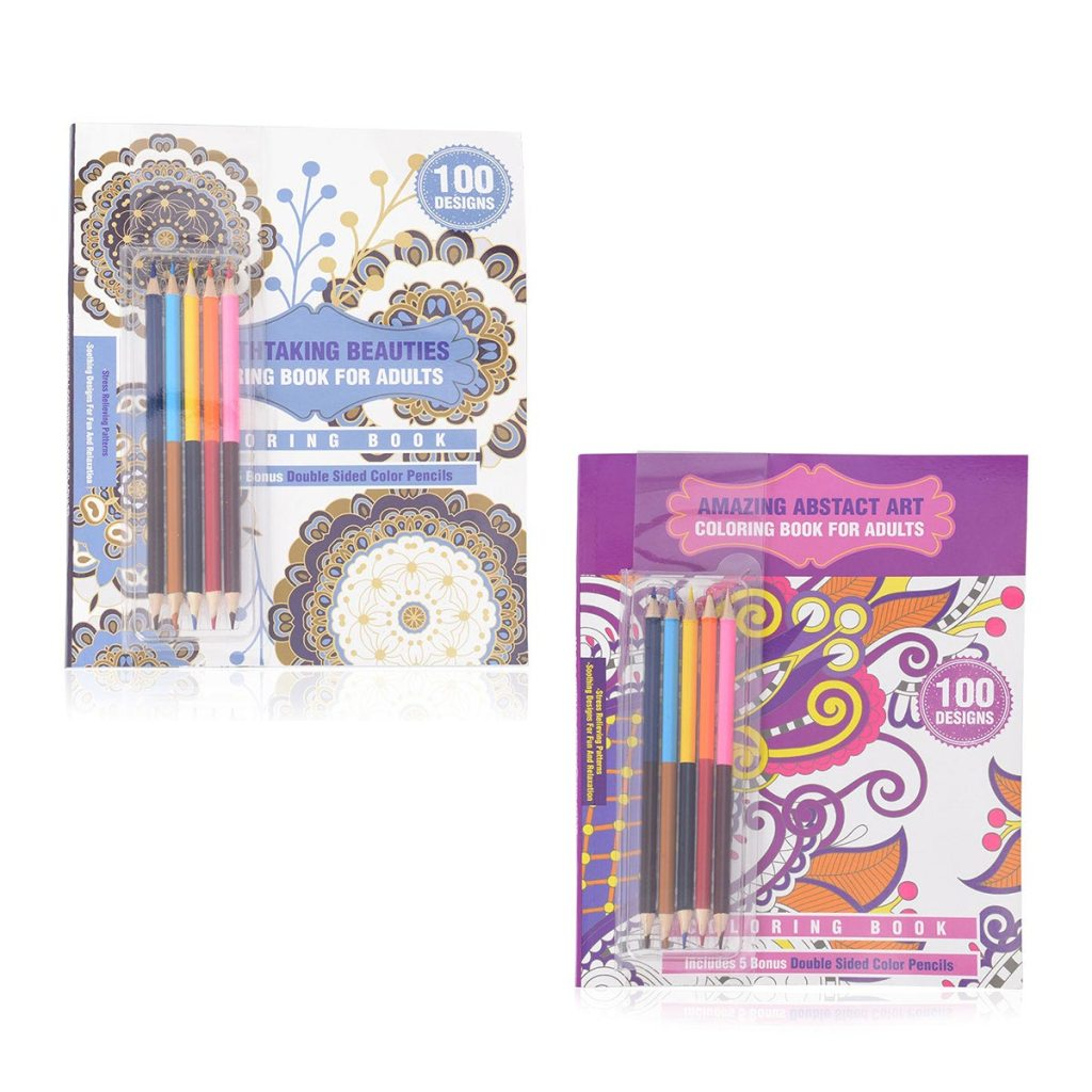 Set of 2 100 Design Stress Relieving Pattern Coloring Books with 5 Double Sided Color Pencils