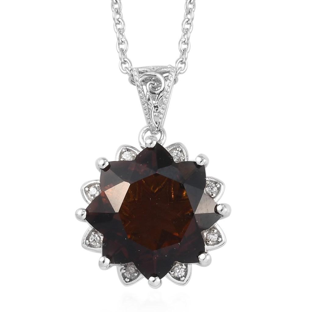 Chocolate quartz pendant in sterling silver.