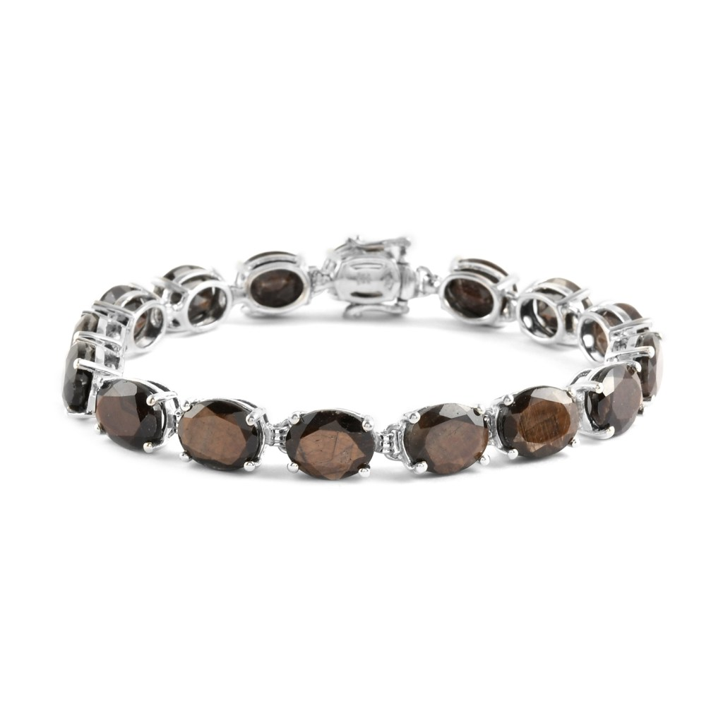 Chocolate sapphire line bracelet in sterling silver.