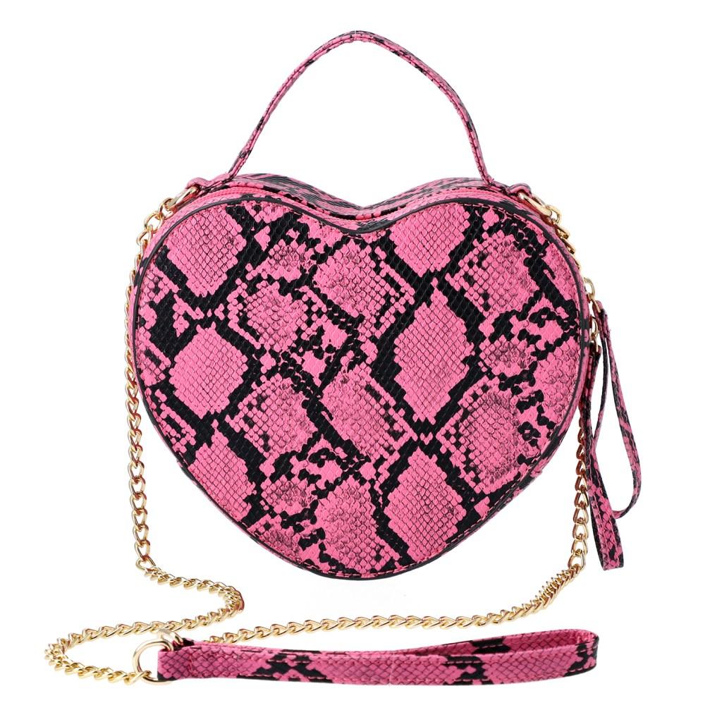 Peach Snakeskin Patten Faux Leather Heart Shape Crossbody Bag