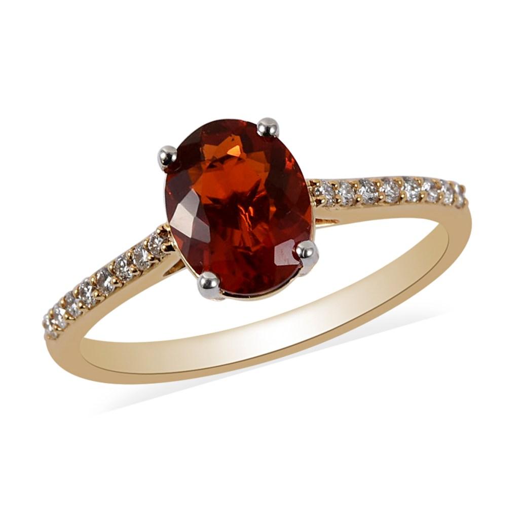 ILIANA 1.30 ctw AAA Crimson Fire Opal and Diamond G-H SI Ring in 18K Yellow Gold