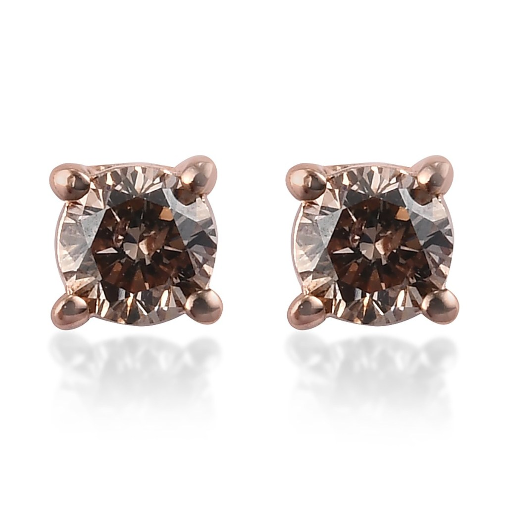 0.25 ctw Natural Champagne Diamond Solitaire Stud Earrings in Vermeil RG Over Sterling Silver
