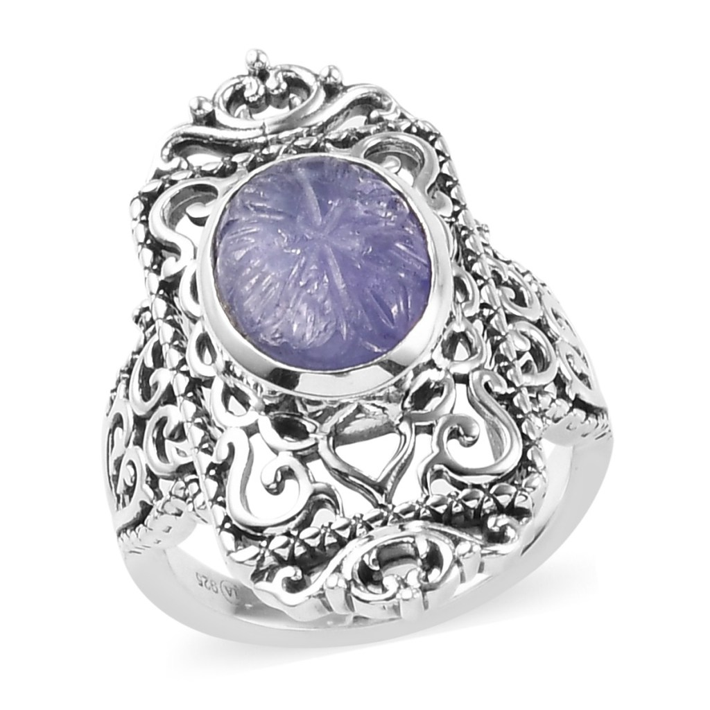 Carved tanzanite ring in sterling silver.