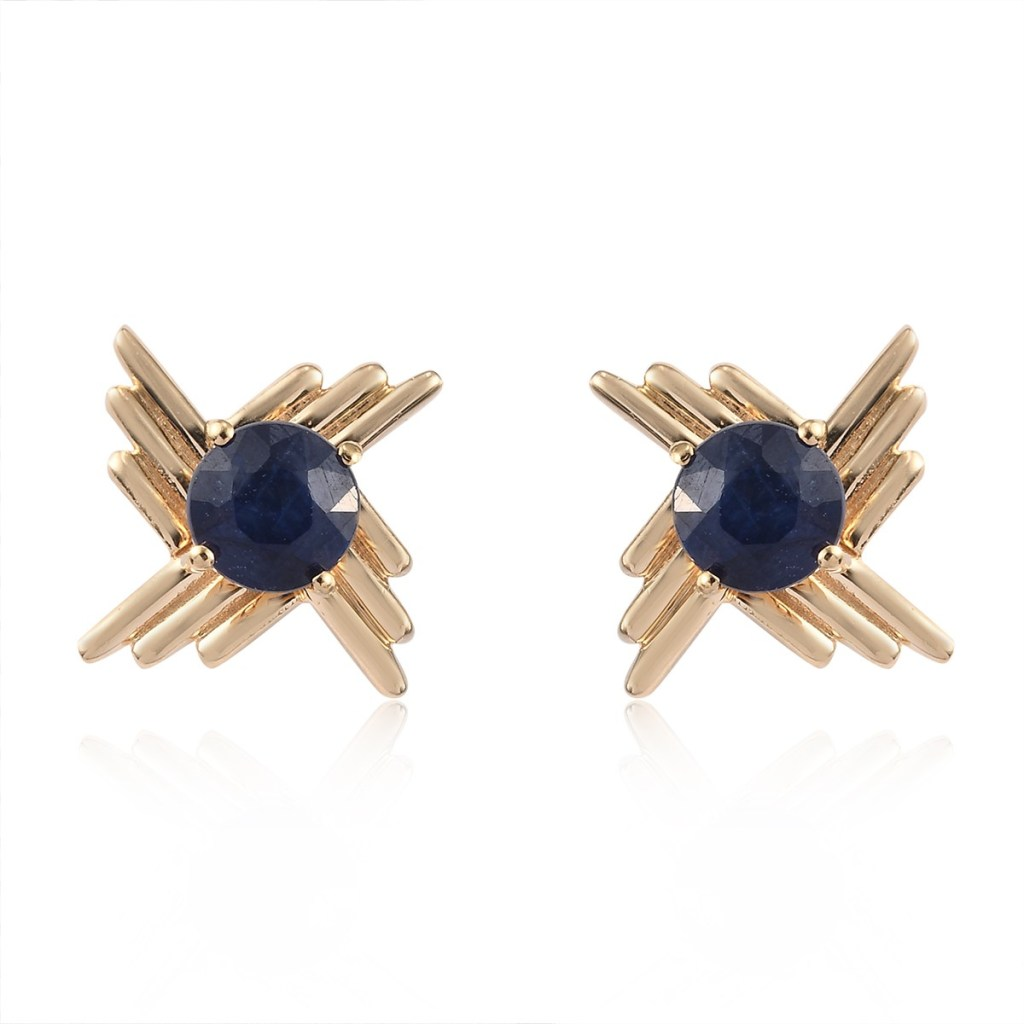 Masoala Sapphire Flower Stud Earrings in Vermeil Yellow Gold Over Sterling Silver