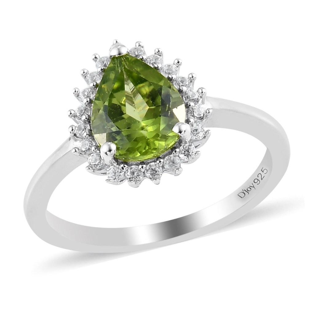 Green teardrop ring.