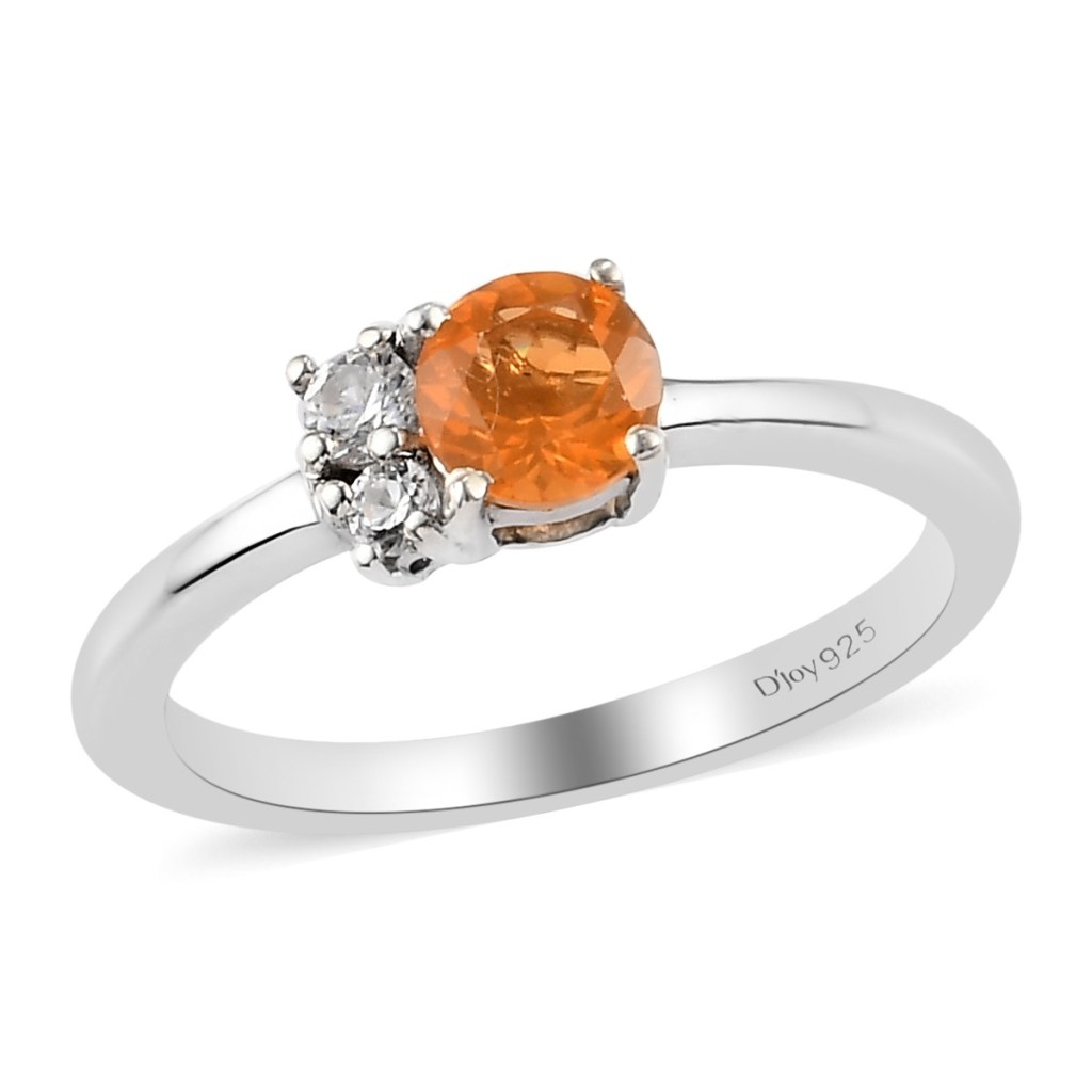 Jalisco Fire Opal and Zircon 3 Stone Ring in Platinum Over Sterling Silver