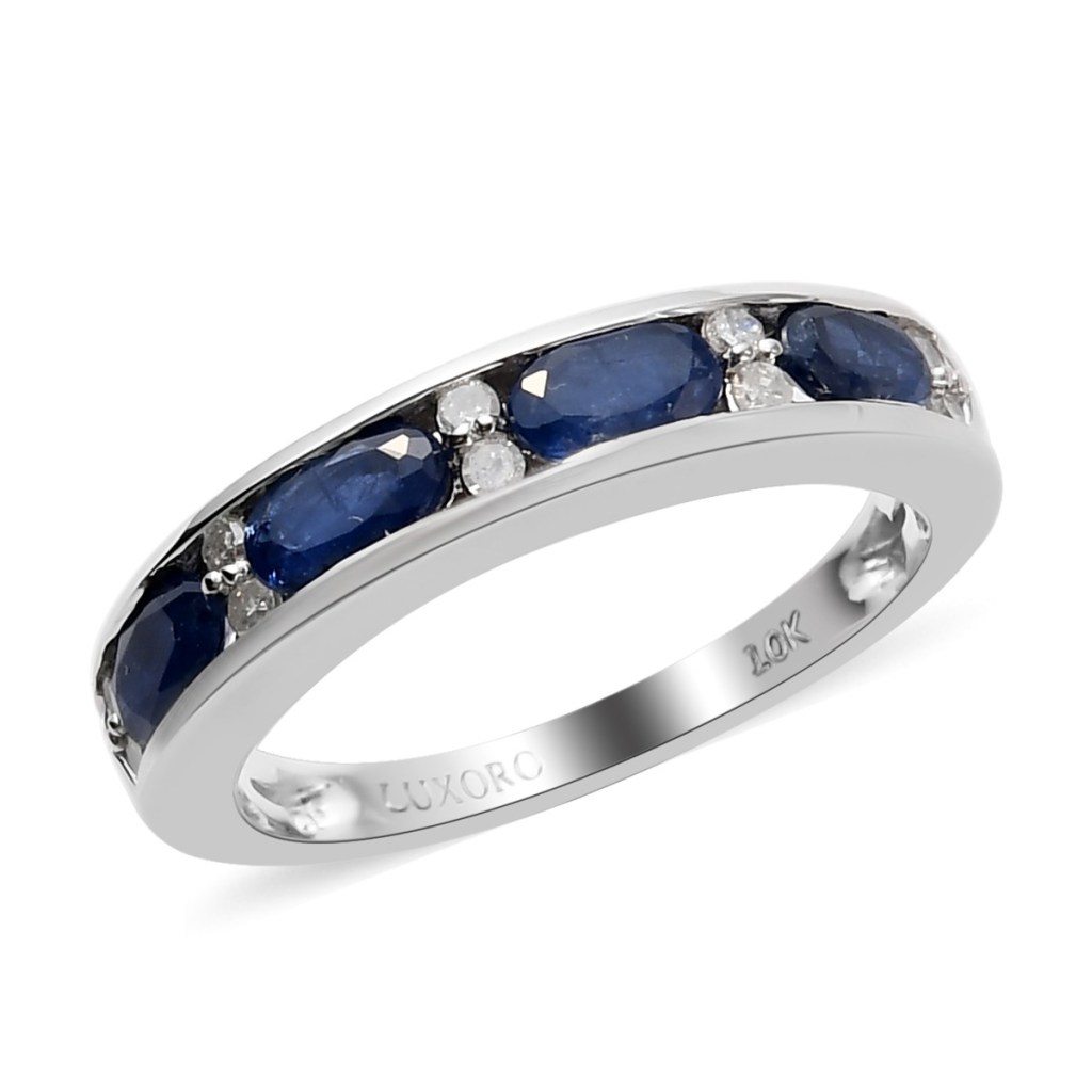 LUXORO AAA Blue Sapphire and Diamond Band Ring in 10K White Gold