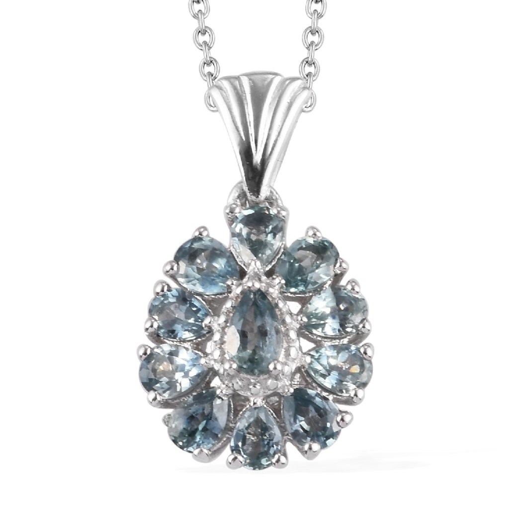 Montana Sapphire Pendant Necklace 20 Inches in Platinum Over Sterling Silver