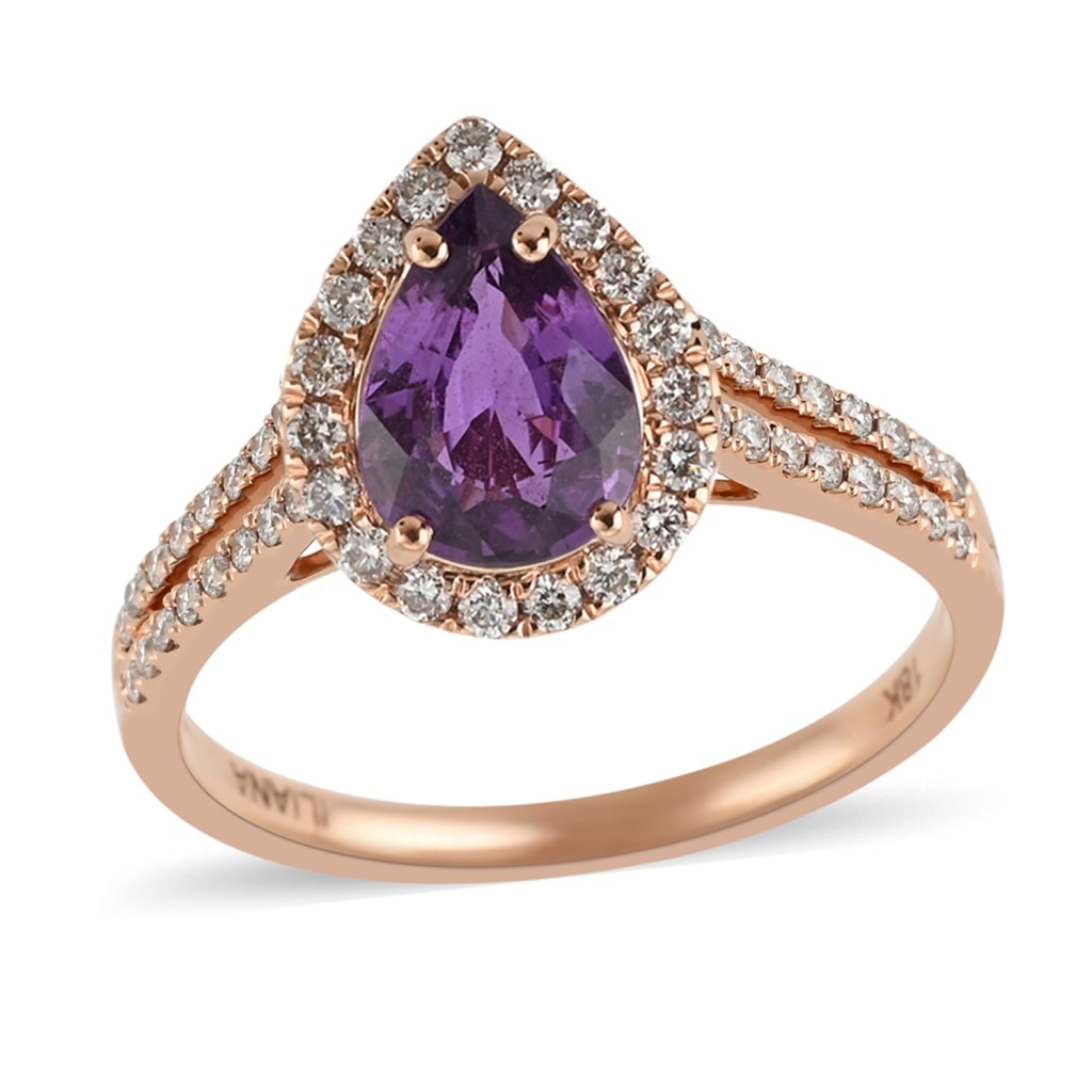 ILIANA 18K Rose Gold AAA Purple Sapphire, Diamond (G-H, SI) Ring