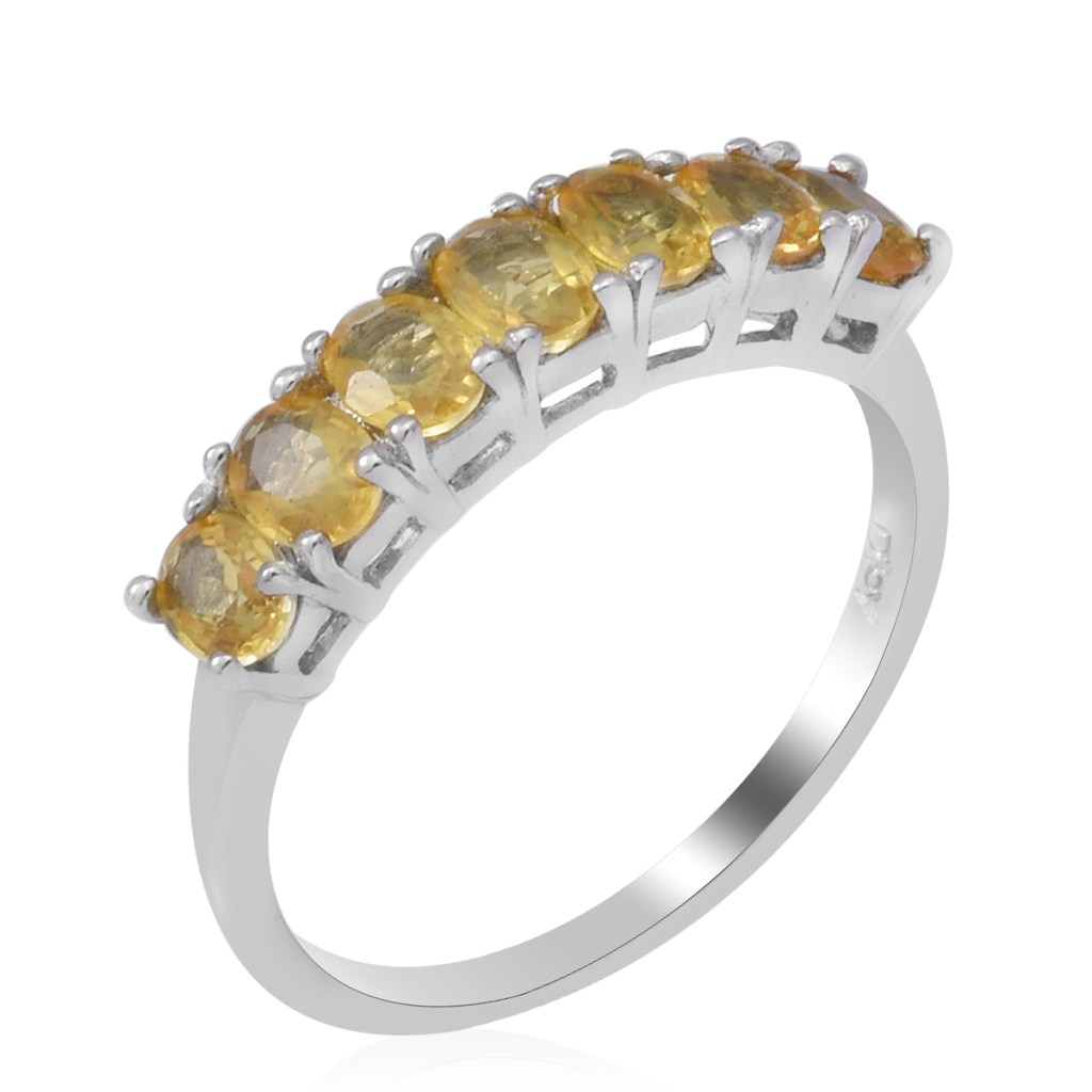 Yellow Sapphire Ring in Platinum Over Sterling Silver