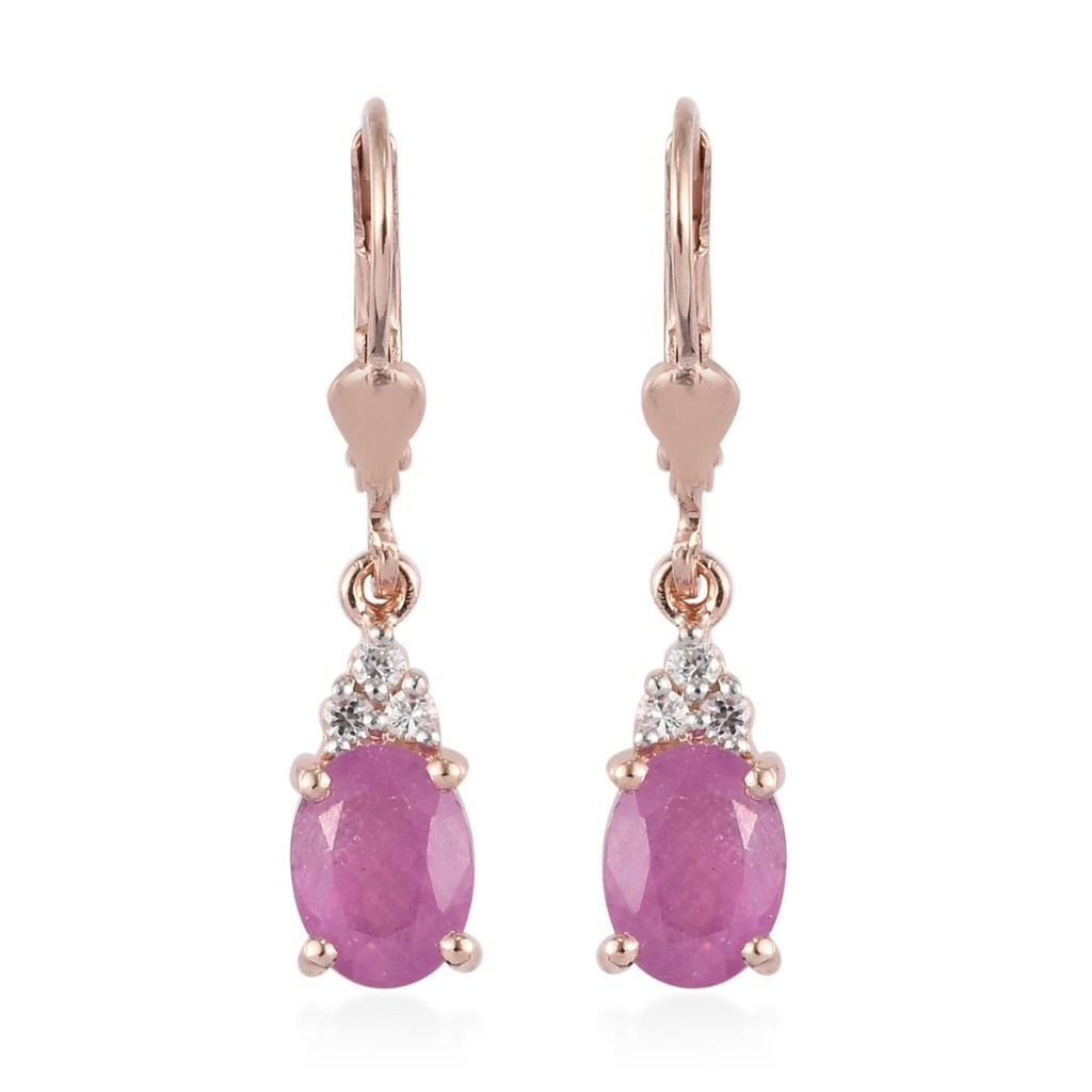 Ilakaka Hot Pink Sapphire and Zircon Earrings in Vermeil Rose Gold Over Sterling Silver
