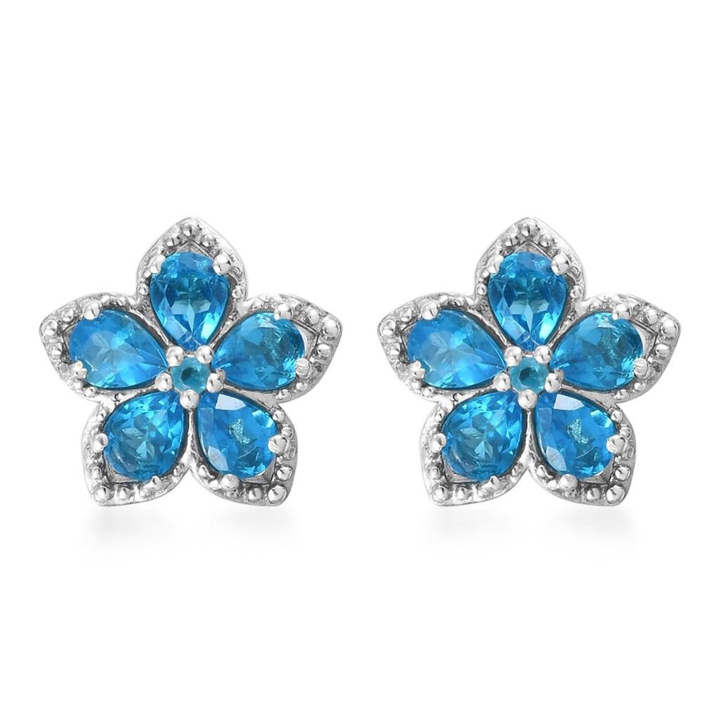 Electric Blue Gem Flower Stud Earrings in Platinum Over Sterling Silver