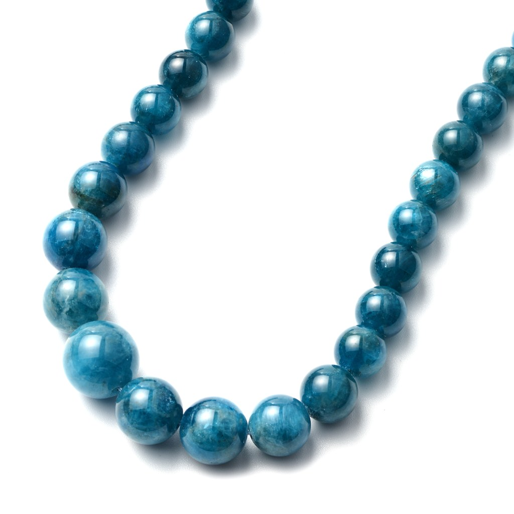 Blue Stone Beaded Necklace 20 Inches in Rhodium Over Sterling Silver