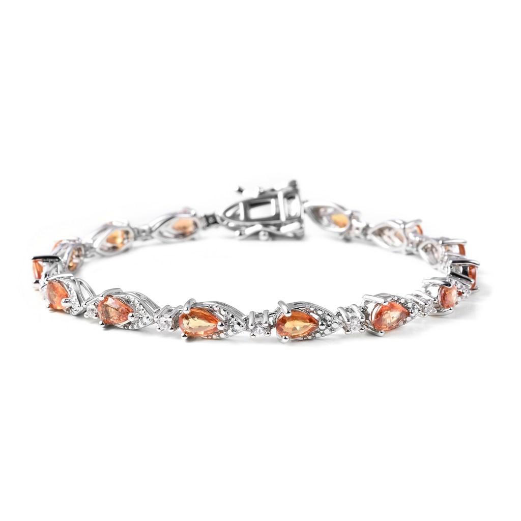 Orange Sapphire and White Zircon Tennis Bracelet in Sterling Silver