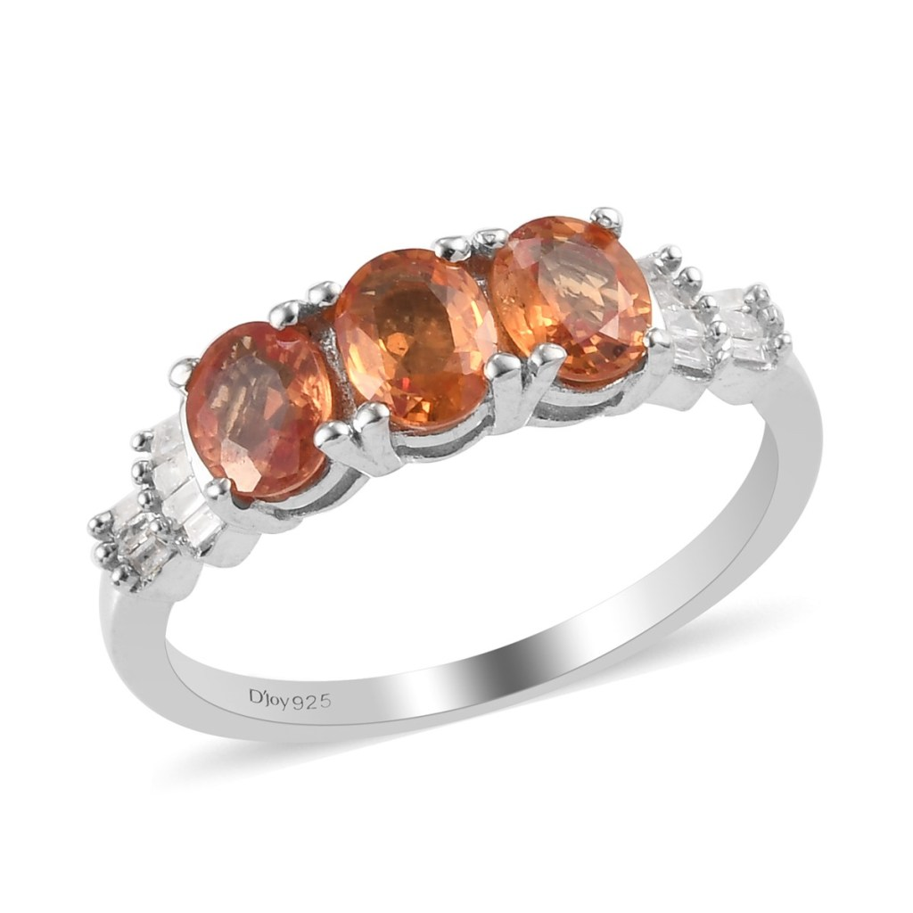 Orange Sapphire and Diamond 3 Stone Line Ring in Platinum Over Sterling Silver