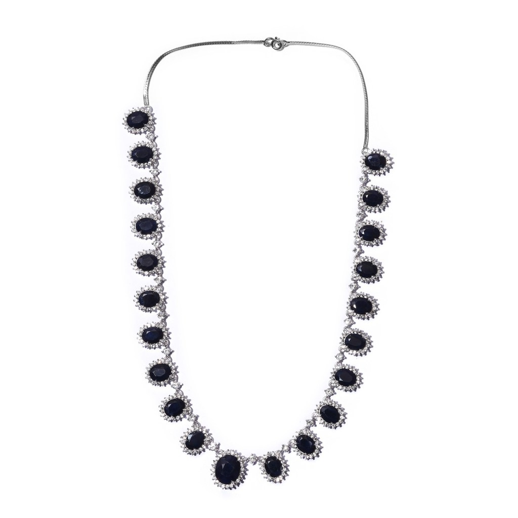 Madagascar Blue Sapphire and White Zircon Necklace in Platinum Over Sterling Silver