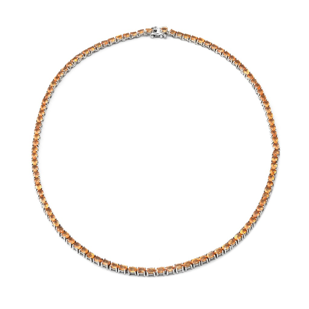 Premium Yellow Gem Tennis Necklace 18 Inches in Platinum Over Sterling Silver
