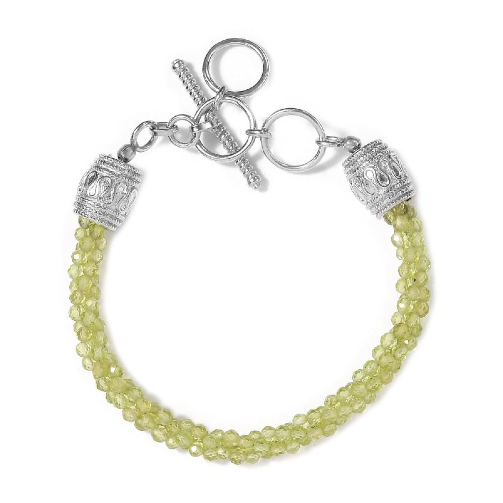 KARIS Peridot Beaded Toggle Clasp Bracelet in Platinum Bond
