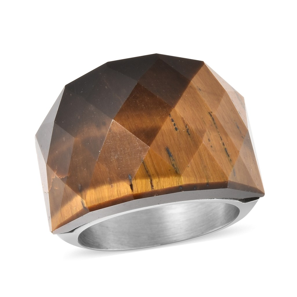 South African Yellow Tiger Eye Ring in Stainless Steel
