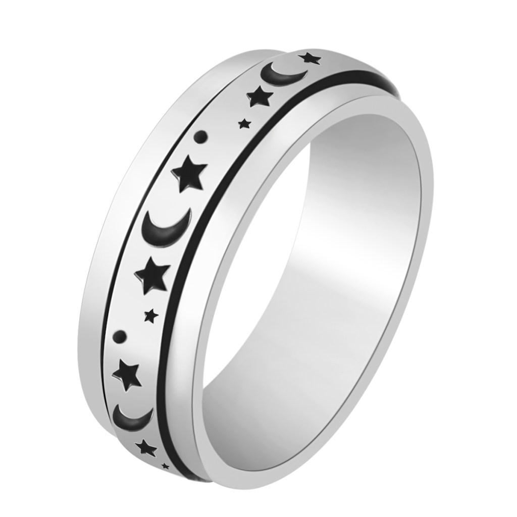 Shop LC Mens Womens Spinner Band Ring 925 Sterling Silver Statement Boho Handmade Jewelry Gifts for Women Moon Star Celtic Stress Relieving