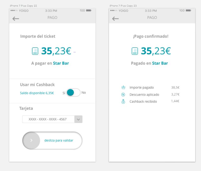 Detalle de las nuevas pantallas de pago de la app de Shoppiday.