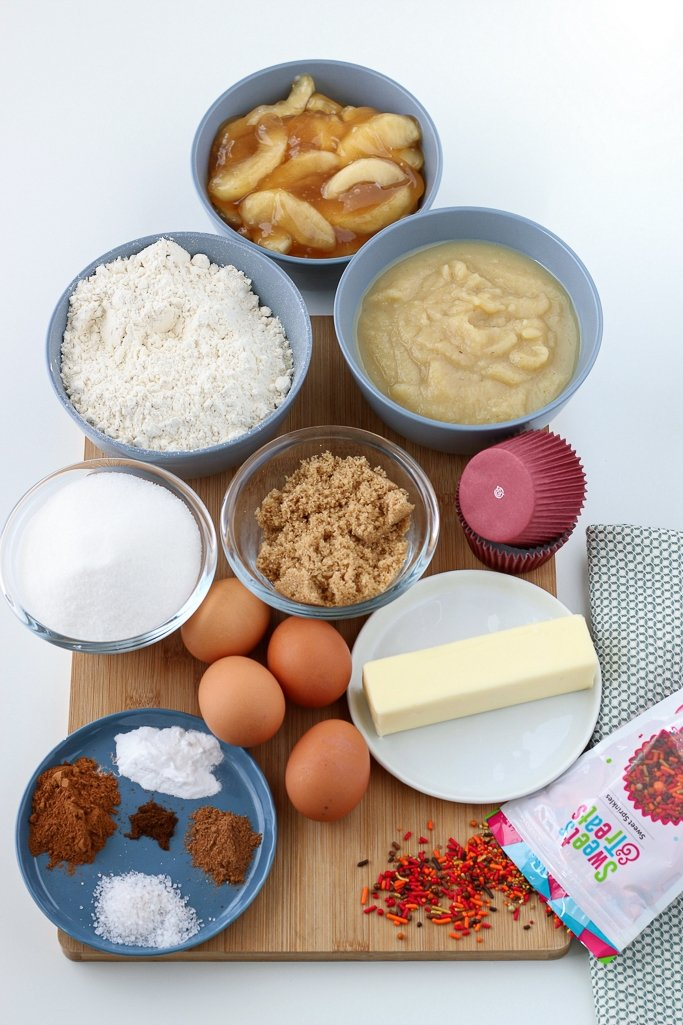 All the ingredients needed to make apple pie cupcakes laid out before we begin the baking process.