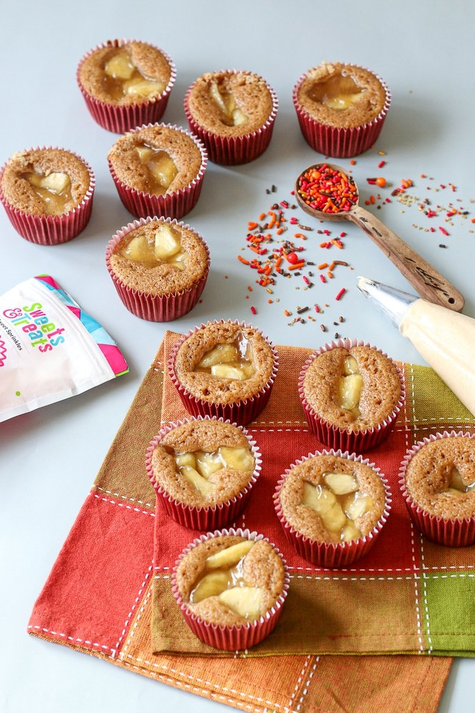 The baked apple filled cupcakes are gorgeous and perfectly golden brown on top.