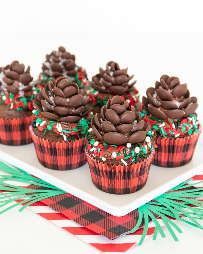 half dozen chocolate pine cone cupcakes with pinecone cupcake toppers on white platter