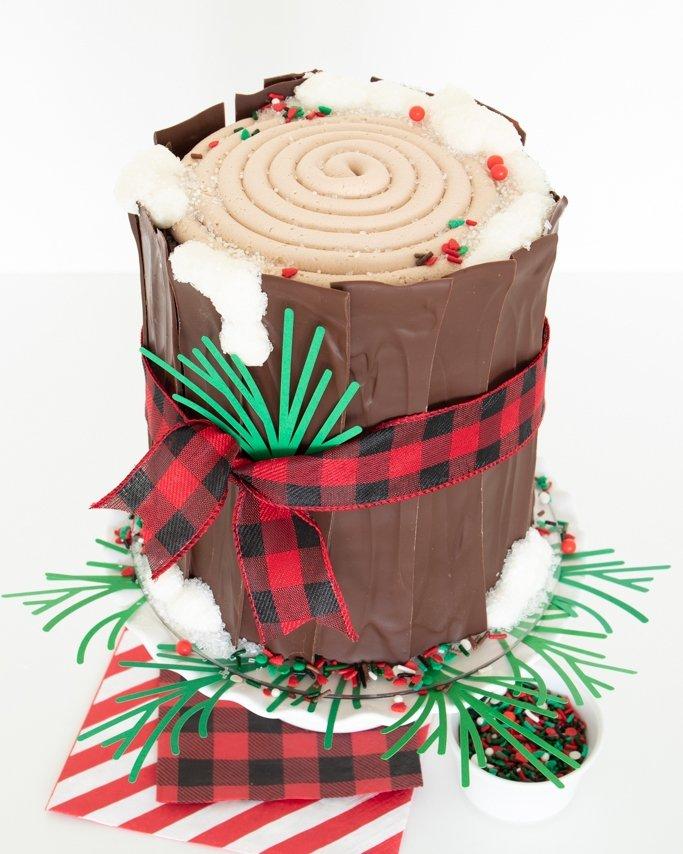 top view of lumberjack cake with lumberjack sprinkles and sugar snow
