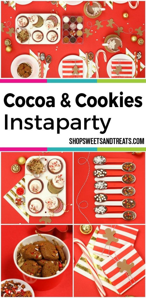 Cocoa & Cookies Christmas Party Ideas - Cocoa & Cookies Sweetscape Christmas InstaParty! This warm and inviting hot cocoa bar inspired party is all things winter! Put on your warm sweater and Christmas music and get ready for the holidays. With Gingerbread sweets and Reindeer Food sprinkles, you are all set!