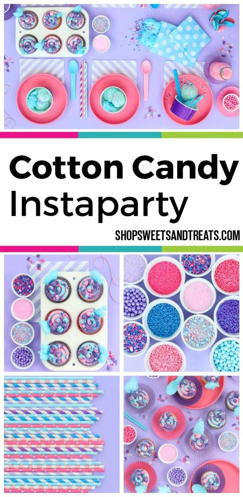 Cotton Candy Party Ideas - Cotton Candy Sweetscape Instaparty - Featuring our Cotton Candy sprinkles with chunks of cotton candy sugar, cotton candy ice cream, and beautiful colors of purple, pink, and blue mixed in.