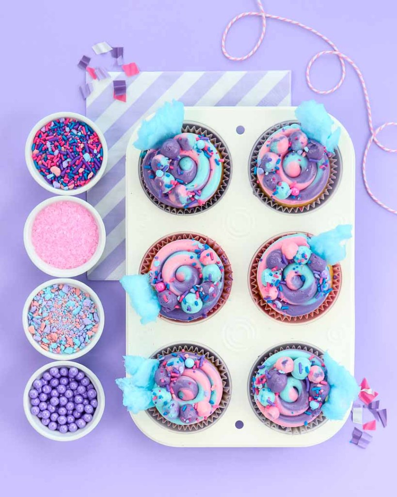 Cotton candy cupcakes in a 6 cup pan