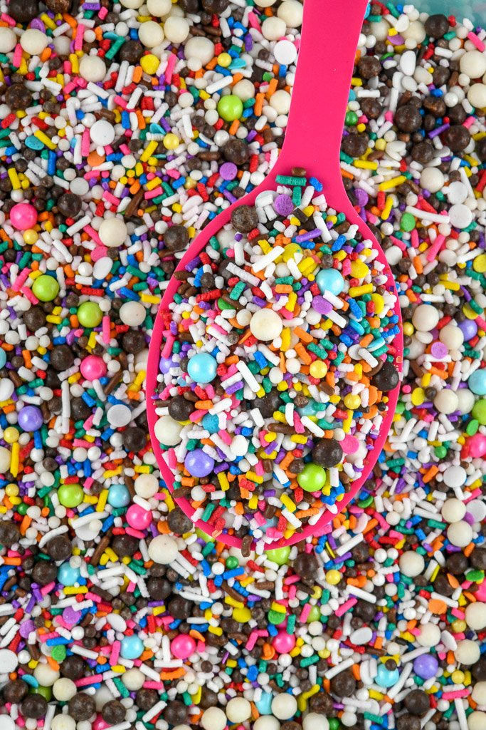 Custom Sprinkles Mix using rainbow jimmies, sugar pearls and lots of other classic sprinkles - Sprinkles Mixes are our favorite!