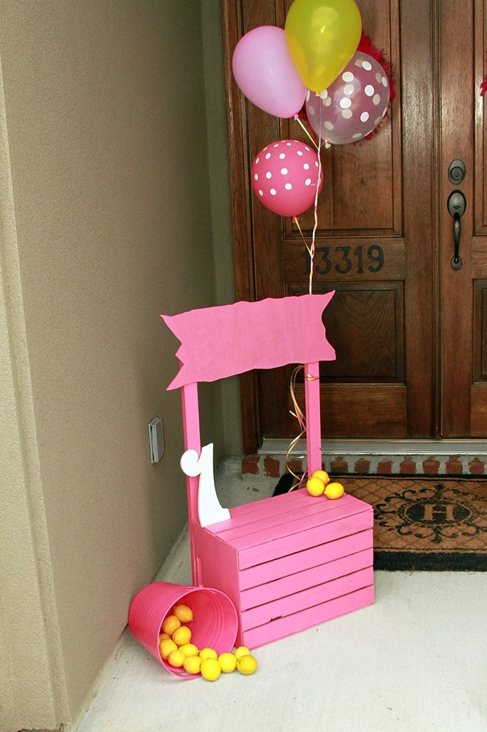 DIY Pink Lemonade Stand for a Pink Lemonade Party First Birthday